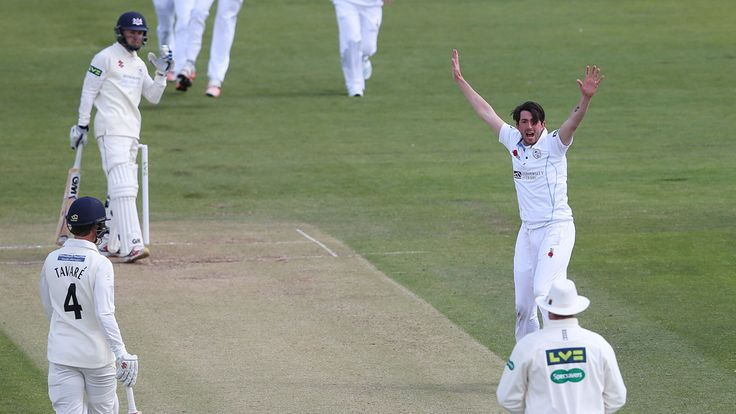 Gloucestershire's Chris Dent is dismissed by Derbyshire's Mark Footitt for 2 during the LV= County Championship match