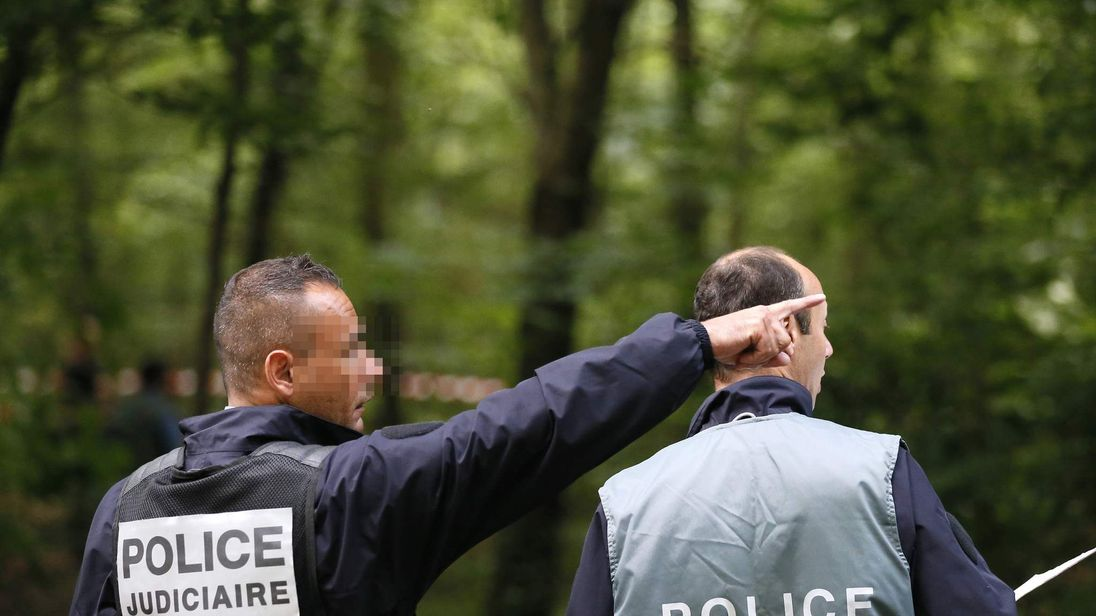 French police in the Bois der Vincennnes in Paris