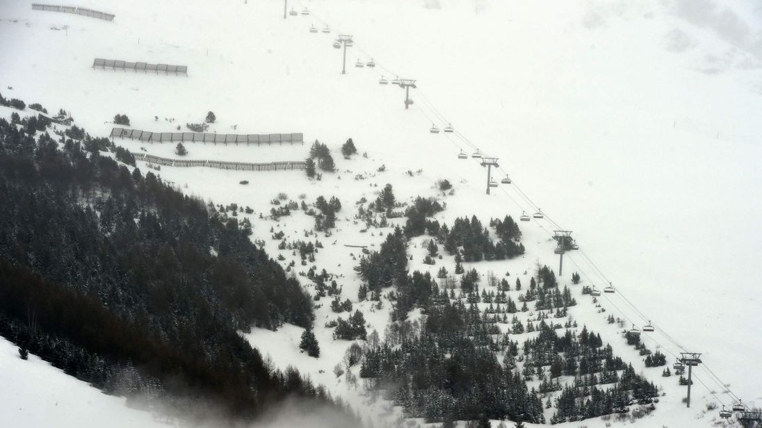 A photo taken on January 13, 2016 shows a view of the slopes in the Les Deux Alpes resort in The French Alps