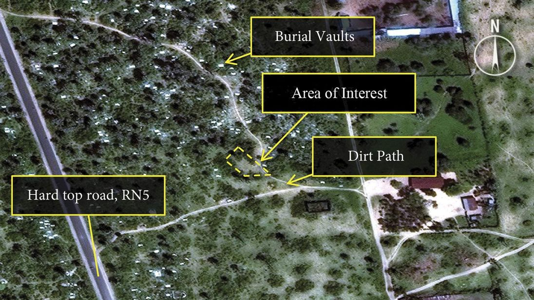 A DigitalGlobe satellite image released by Amnesty International shows what the human rights organization describes as an area prior to the emergence of a mass grave in Burundi