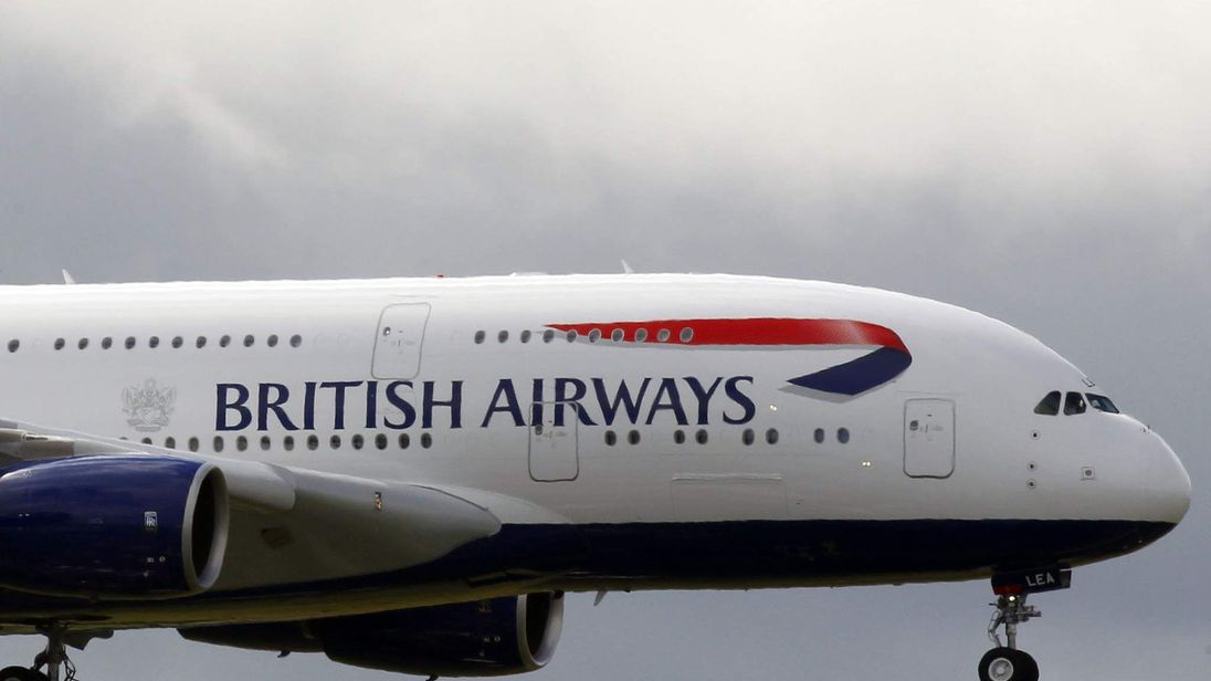 File picture of a British Airways Airbus A380.