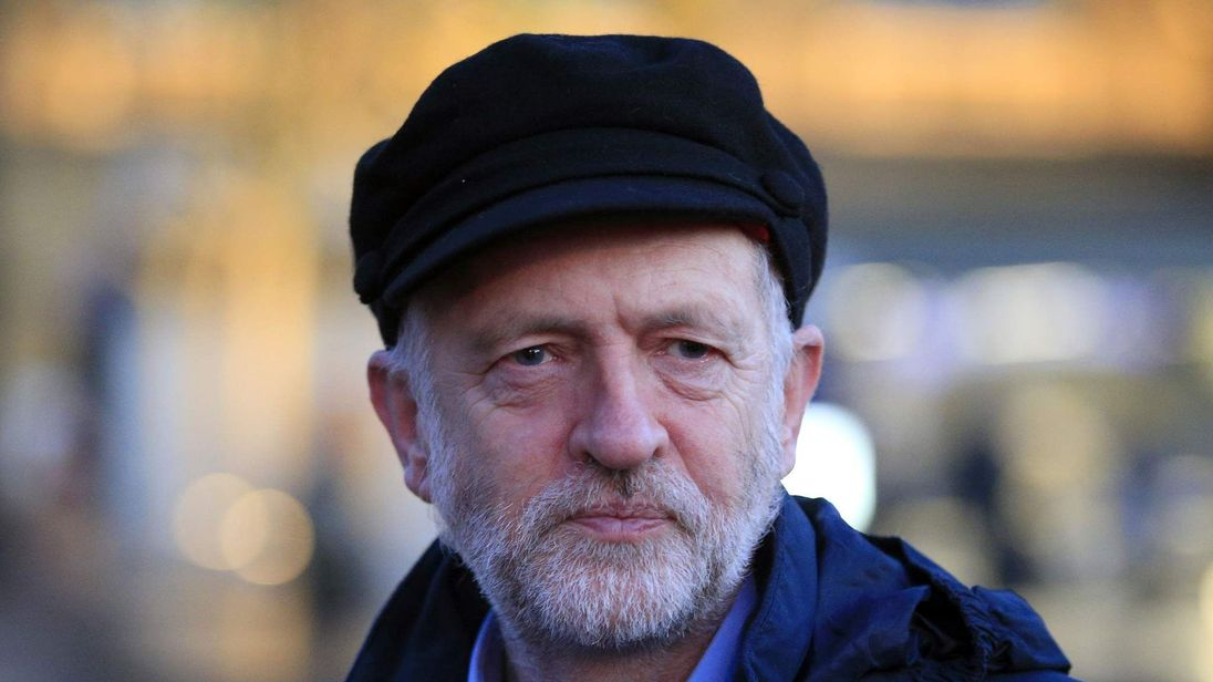Labour Party leader Jeremy Corbyn attends a fares protest at King's Cross Station.