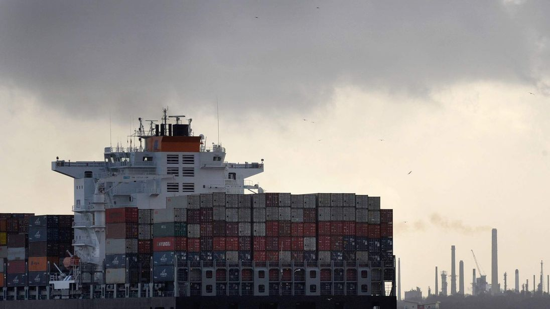 A freight ship leaves Southampton docks in southern England