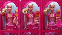 "Mattel's Barbie dolls on sale are pictured inside a shop of a life-size ""Barbie Dreamhouse"" during a media tour in Berlin"
