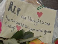 A message left with flowers for the victims of the Shoreham airshow plane crash
