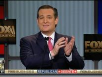 Republican presidential candidate Ted Cruz during Tv debate hosted by Fox Business Network