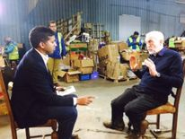 Jeremy Corbyn speaking to Sky's Faisal Islam in Calais
