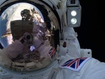 Tim Peake takes a selfie on his first spacewalk