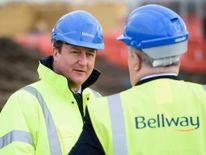 David Cameron visits a housing construction site