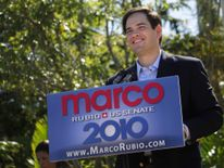 U.S. Senate candidate Marco Rubio (R-FL) speaks to supporters during a public event to sign election documents to officially qualify as a Republican candidate for the U.S. Senate in West Miami, Florida