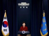 South Korean President Park Geun-hye addresses the nation at the Presidential Blue House in Seoul