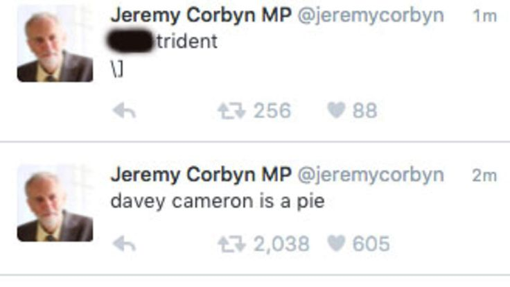 Jeremy Corbyn's Twitter account hacked