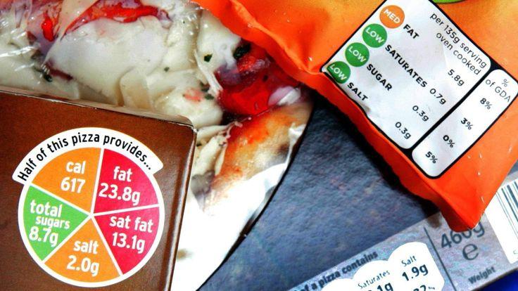 A range of food labels.