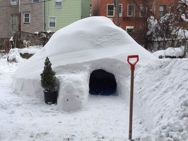 The New York igloo that was built by Patrick Horton and his friends. Pic: Patrick Horton.