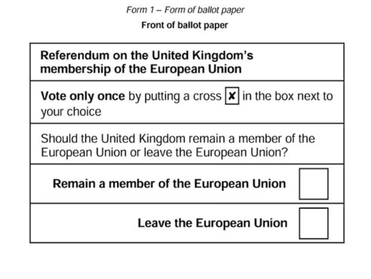 The proposed ballot paper for the European Union referendum.