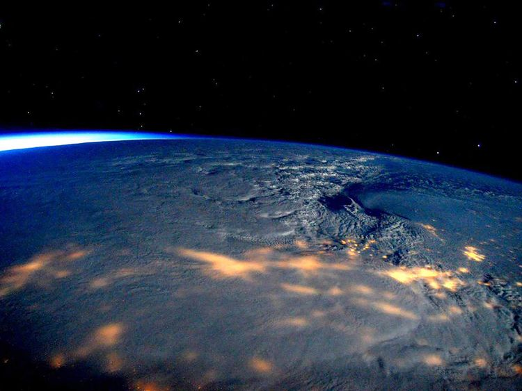 A winter storm affecting the U.S. East Coast is seen in a NASA image from the International Space Station