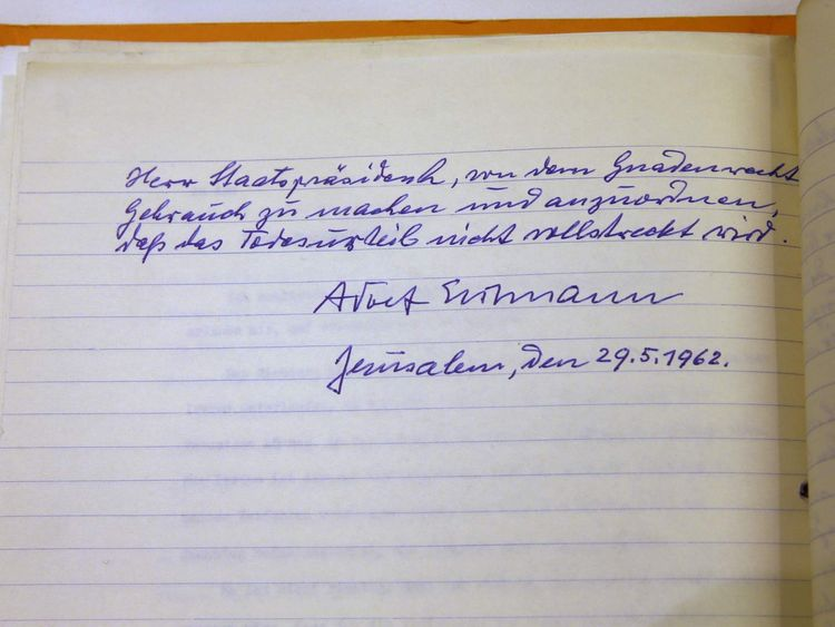 A handwritten request for clemency by Eichmann, an architect of the Nazi Holocaust, is seen during a ceremony at Israeli President Reuven Rivlin's residence in Jerusalem