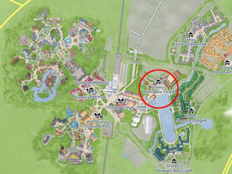 Disney's Hotel New York (circled)