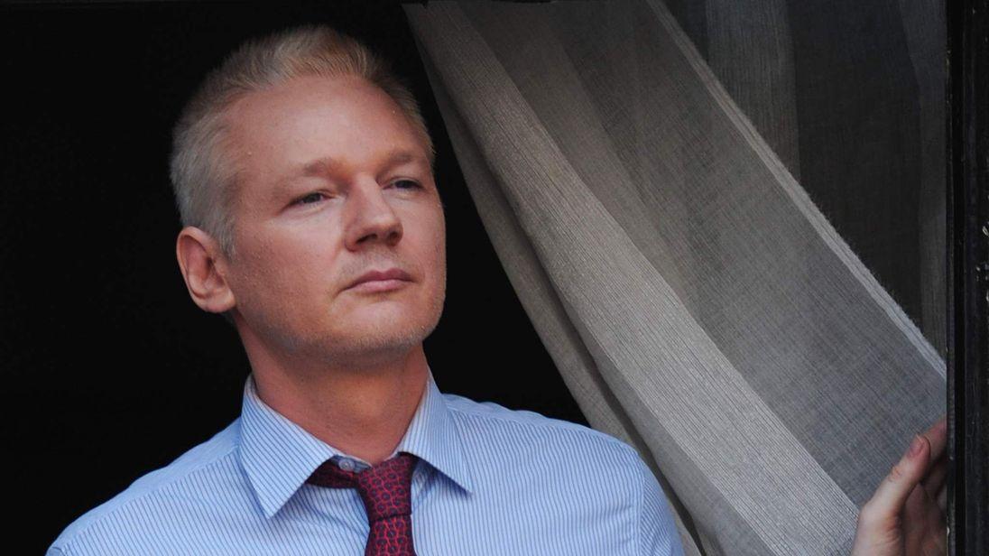 Julian Assange on the balcony at the Ecuador Embassy