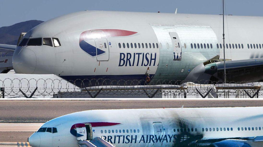 BA plane repairs at McCarran International Airport in Las Vegas