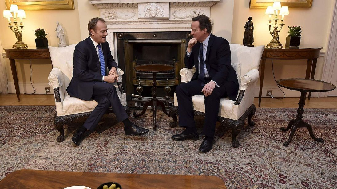 David Cameron meeting President of The European Council Donald Tusk