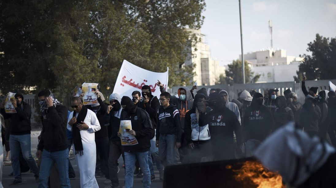 Bahraini protesters take part in a demonstration to mark the fifth anniversary of the Arab Spring-inspired uprising, on February 12, 2015, in the mainly Shiite village of Sitra