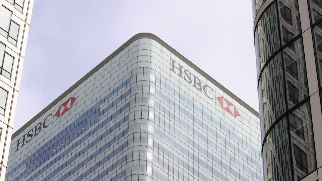 The logo of the HSBC bank is seen at its UK headquarters at Canary Wharf in London