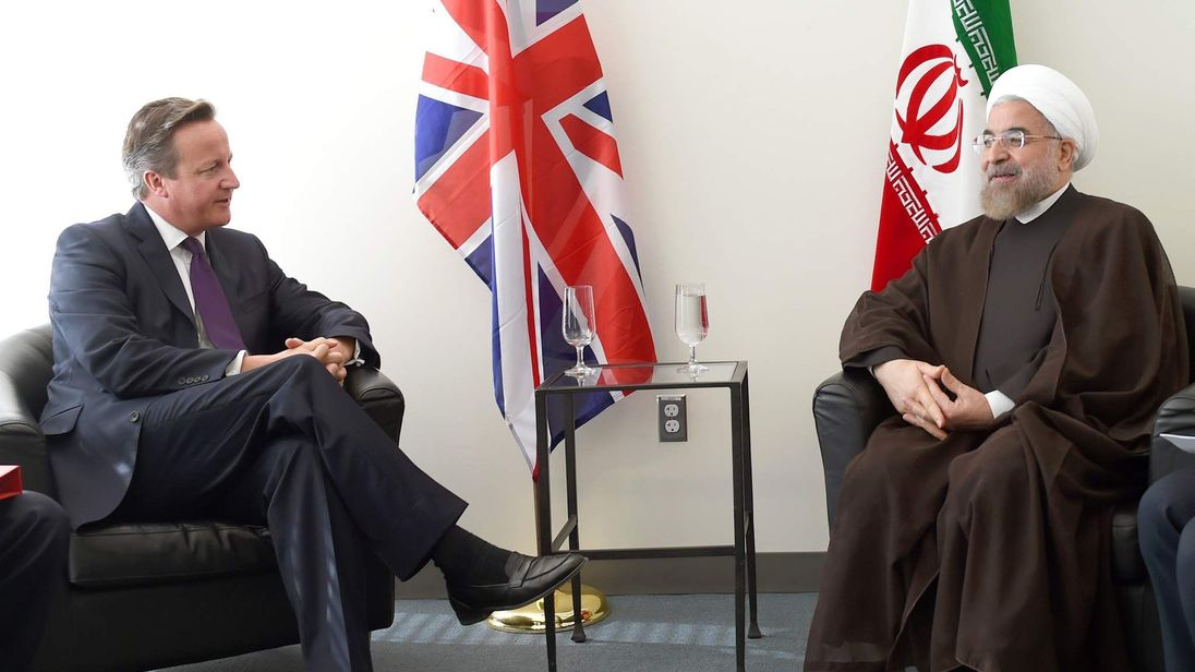 Britain's Prime Minister David Cameron meets with Iran's President Hassan Rouhani during the 69th United Nations General Assembly in New York