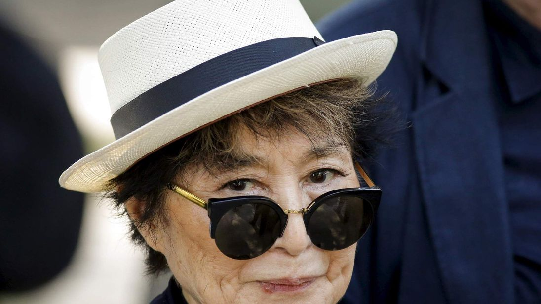 Artist Yoko Ono, widow of John Lennon, attends the unveiling of a tapestry honoring Lennon at Ellis Island in New York