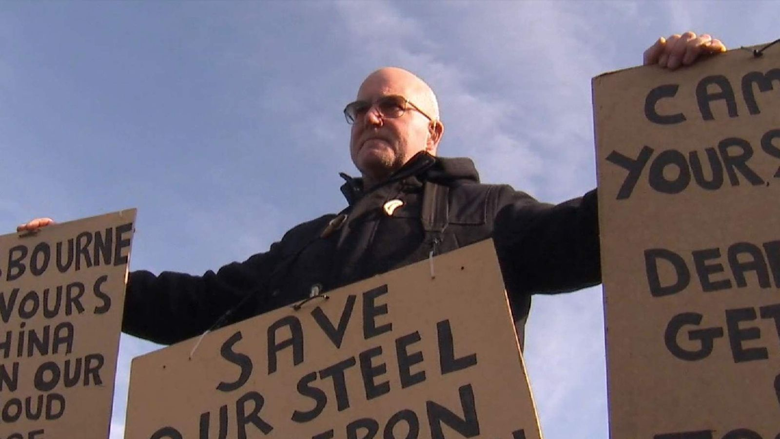 Worker protesting against job losses at Tata steel works Scunthorpe