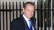 Donald Tusk arrives in Downing Street