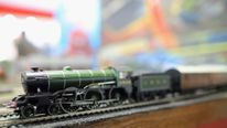 A Hornby model railway kit is displayed during the 2013 London Toy Fair at Olympia Exhibition Centre
