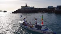 The crew setting off from Gran Canaria in January. Pic: Oceanus Rowing
