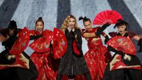 Singer Madonna performs during her concert at the AccorHotels Arena in Paris
