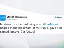 Afghan Messi fan UNICEF tweet