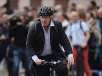 Boris Johnson riding his bike