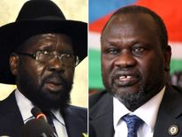 South Sudan President Salva Kiir (L) and Riek Machar