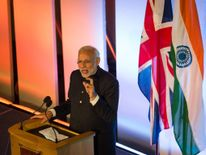 Indian Prime Minister Narendra Modi addresses industry leaders at Guildhall in London