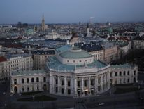 Burgtheater and St. Stephens cathedral in Vienna