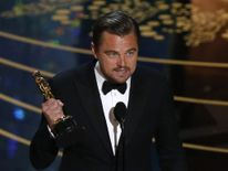 "Leonardo DiCaprio holds the Oscar for Best Actor for the movie ""The Revenant"" at the 88th Academy Awards in Hollywood"