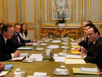 David Cameron and Francois Hollande meet at the Elysee Palace in Paris