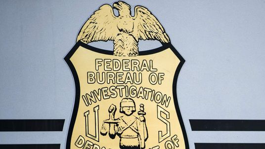 A seal on a door to a Federal Bureau of Investigation mobile command vehicle.