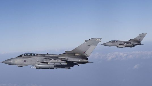 Imagery of RAF Tornados Rendezvous with Voyager Tanker During Yesterday's Mission to Iraq