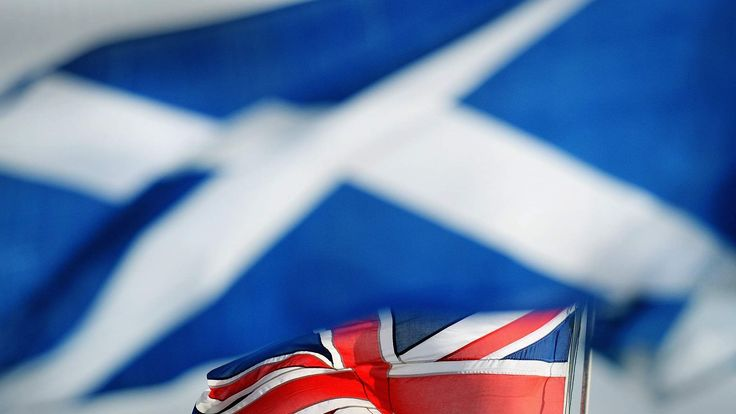 The flags of Scotland and the United Kingdom