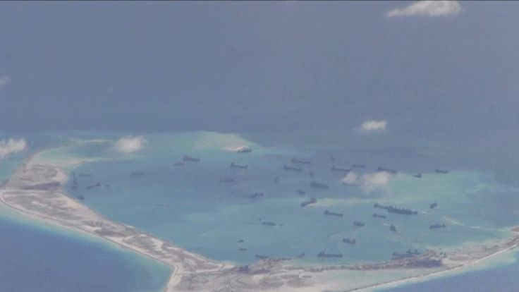 US and Chinese naval stand-off over man-made islands in the South China Sea