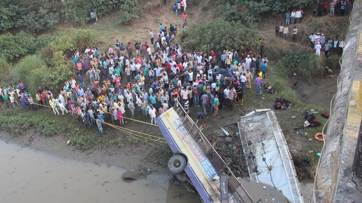 India bus plunges into river Puma in Gujarat state
