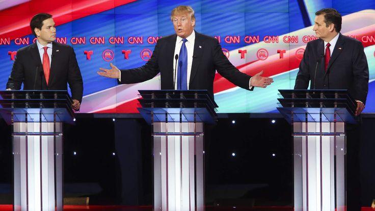 Marco Rubio (L), Donald Trump (C) and Ted Cruz (R)