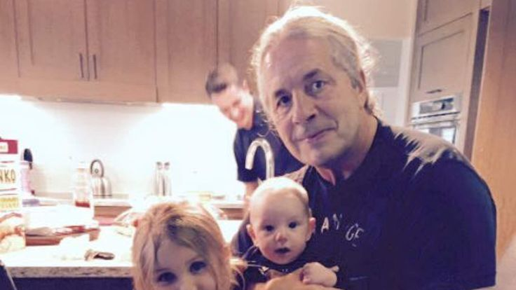 Bret Hart announced he had cancer in a post on Facebook. Accompanying photo of Hart with his grandchildren