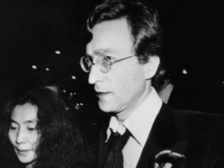 John Lennon with Yoko Ono in 1980, on their way to a Rod Stewart concern in New York