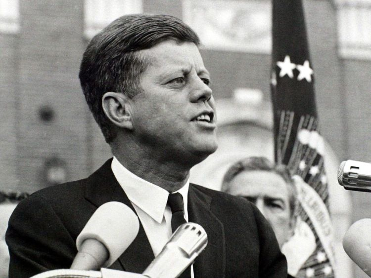 - PHOTO TAKEN 22NOV1963- President John F. Kennedy delivers a speech at a rally in Fort Worth, Texas..